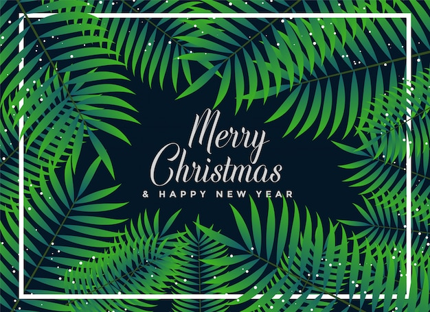 Groene bladerenachtergrond voor vrolijke kerstmis