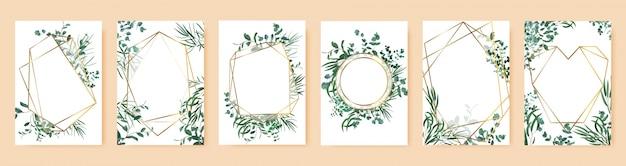 Groene bladframes. lente huwelijksuitnodigingen, bloemen takken gouden geometrische randen. elegante bloemen frames symbolen set. affiche en banner met de bloemenillustratie van het boeketkader