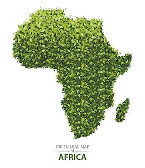 Groene bladkaart van afrika