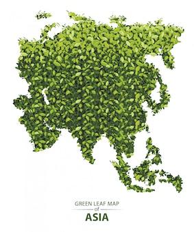 Groene bladkaart van azië