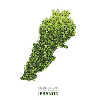 Groene bladkaart van libanon