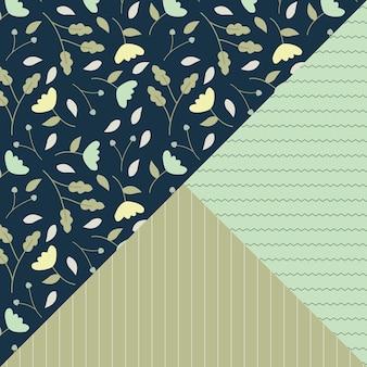 Groene bloemen en lijn naadloze patroon