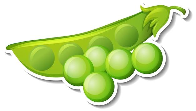 Groene bonen sticker op witte achtergrond