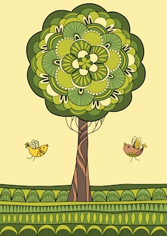 Groene boom en vogelsillustratie