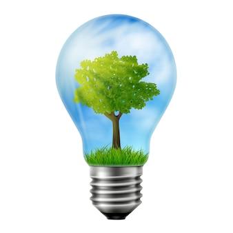 Groene boom groeit in een gloeilamp, ecologieconcept, concept van groene energie. vector 3d-realistische illustratie.