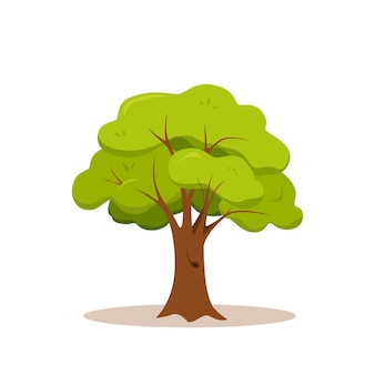 Groene boom kleurrijke cartoon stijl. platte natuur plant illustratie. Premium Vector