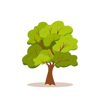 Groene boom kleurrijke cartoon stijlicoon ontwerp. platte natuur plant illustratie.
