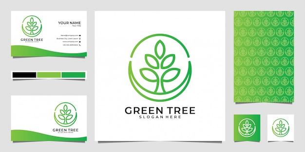 Groene boom met lijntekeningen stijl logo-ontwerp en visitekaartje