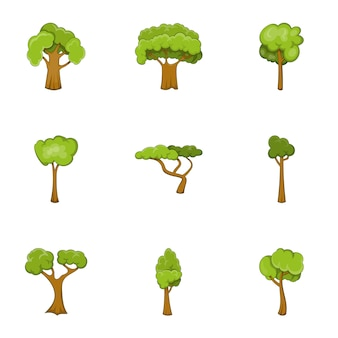Groene boom set, cartoon stijl