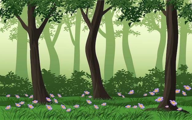Groene bosachtergrond met gras en wilde bloemen