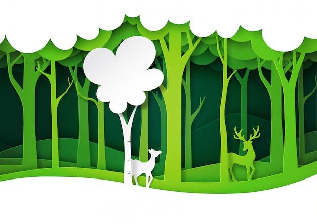 Groene bossen en herten dieren in het wild met natuur landschap, lagen papier kunststijl.