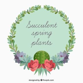 Groene cactus vetplanten label