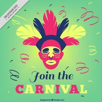 Groene carnaval achtergrond met veren en wimpel