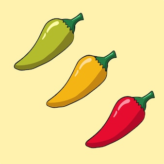 Groene chili gele chili en rode chili symbool vectorillustratie