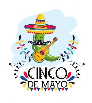 Groene chili peper met hoed en gitaar naar mexicaanse evenement