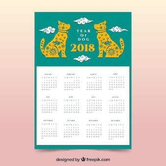 Groene chinese nieuwe jaarkalender