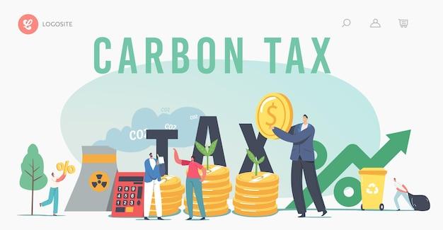 Groene co2-belastingen bestemmingspaginasjabloon. kleine karakters op enorme stapels munten met spruiten die groeien en fabriekspijp die rook uitstraalt. belastingen voor natuurvervuiling. cartoon mensen vectorillustratie