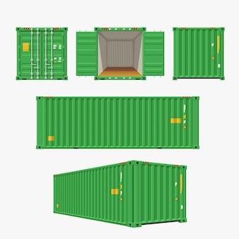 Groene container die op wit wordt geplaatst