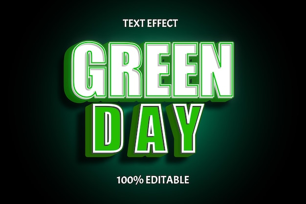 Groene dag kleur groen wit bewerkbaar teksteffect