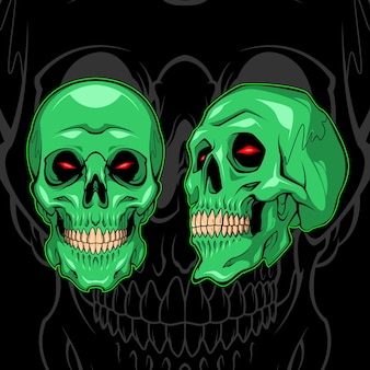 Groene demon schedel
