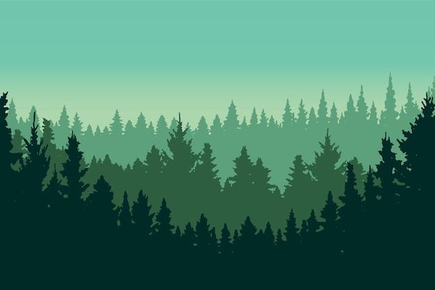 Groene dennenbos landschap silhouet vectorillustratie