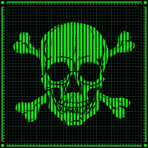 Groene digitale schedel op donkere achtergrond.