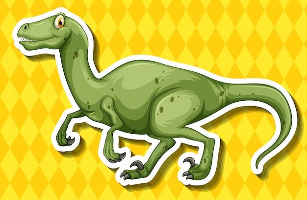 Groene dinosaurus die op gele achtergrond loopt