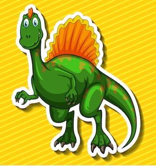 Groene dinosaurus op geel