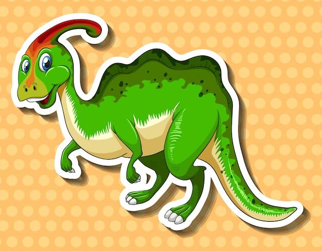 Groene dinosaurus op polkadotsachtergrond