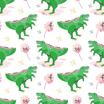 Groene dinosaurussen schattig platte hand getekende cartoon naadloze patroon behang. prehistorische elementen. oude dieren. kleurrijk ontwerp. geïsoleerd op een witte achtergrond.