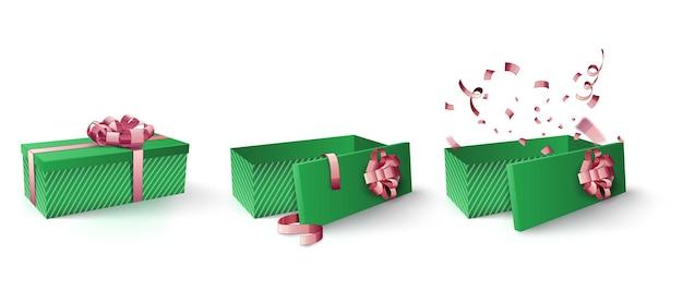 Groene doos met zacht roze lint en confetti Premium Vector