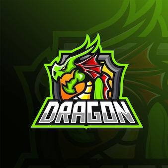 Groene draak mascotte esport logo ontwerp