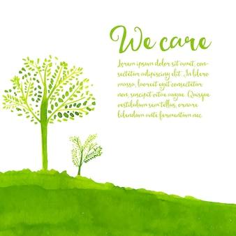 Groene eco-achtergrond met handgeschilderd bomengras en tekst waar we om geven