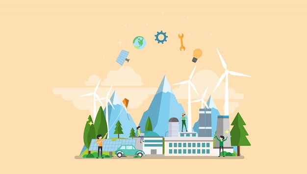 Groene eco fabriek kleine mensen karakter