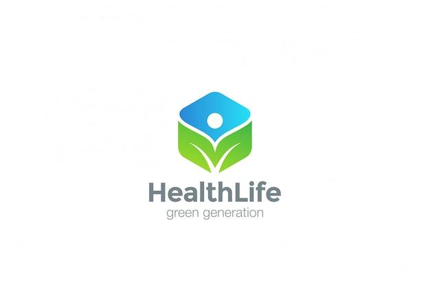 Groene eco logo icoon.