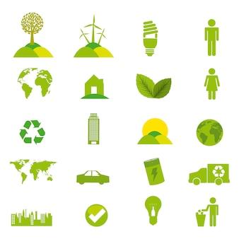 Groene ecologie pictogrammen over witte achtergrond vectorillustratie