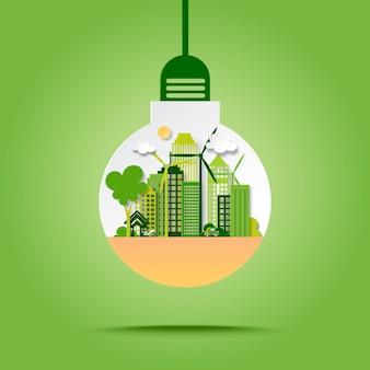Groene ecostad met sparen energie en recycleert concept in gloeilampendocument kunststijl.