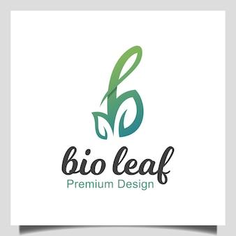 Groene eerste letter b met bio blad pictogram vector. schoonheid natuur logo. zakelijk natuurlijk woordmerk logotype ontwerp