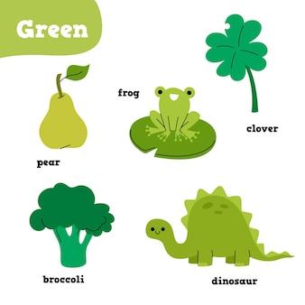 Groene elementen die met engelse woorden worden geplaatst