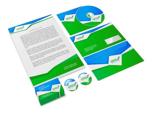Groene en blauwe abstracte bedrijfskunde stijl briefpapier voorbeeld voor corporate identity geïsoleerde vector illustratie