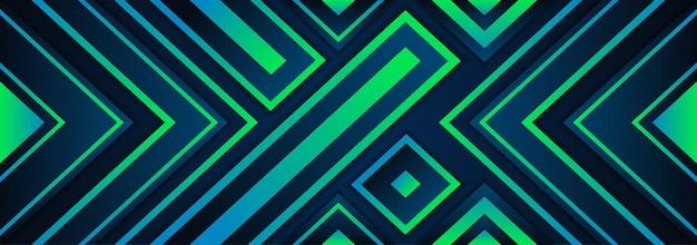 Groene en blauwe gradiënt abstracte achtergrond sjabloonontwerp horizontale lay-out met driehoek