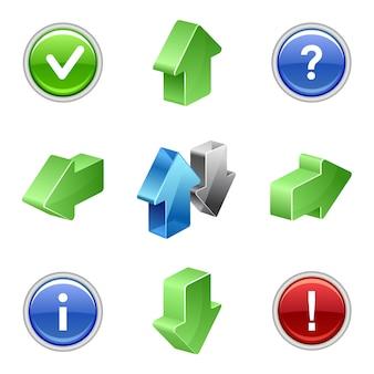 Groene en blauwe knop pijl set isometrische pictogrammen