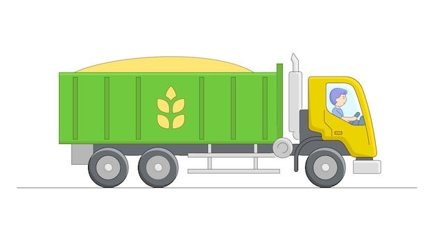 Groene en gele kipper met chauffeur karakter. lineaire cartoon-compositie. overzicht boerderijobject dat goederen vervoert. tarwe transport met kiepwagen.
