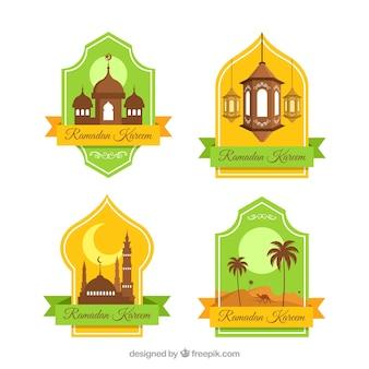 Groene en gele verzameling ramadan-labels