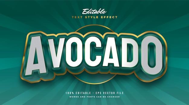Groene en gouden avocado-tekststijl met 3d en reliëfeffect. bewerkbaar tekststijleffect