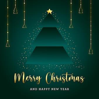 Groene en gouden kerstboom briefkaart