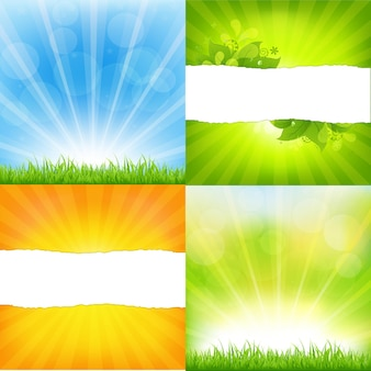 Groene en oranje achtergronden met sunburst, achtergrond