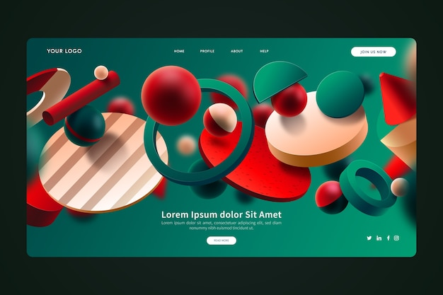 Groene en rode 3d geometrische vormen die pagina landen