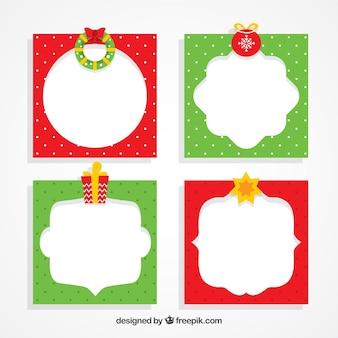Groene en rode kerst frames