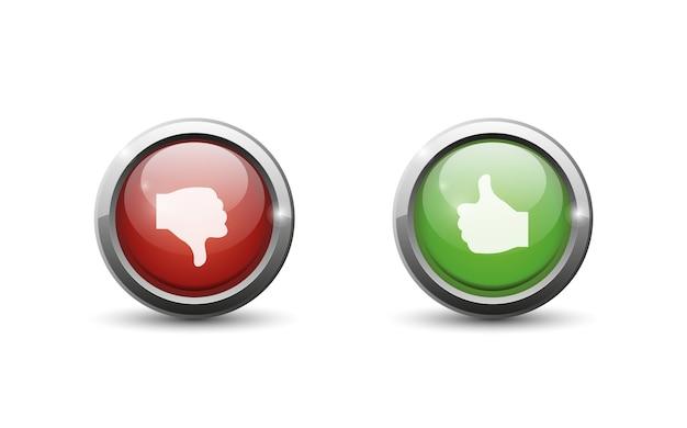 Groene en rode knop op witte achtergrond.
